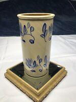 Studio Hand Made Pottery Art Ceramic Stoneware Blue Flowers Tall Vase, signed