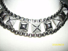 *NWT* Juicy CouTure HEAVY SiLver-Tone Pave Pyramid & BoX Chain ChoKer *VHTF*