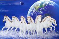Seven Horses Running Picture Peace Calm luck Vastu Feng Shui Home Decor Poster