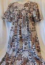 Royal Creations Traditional MuuMuu Gray Gold Tapa Kapa Design Hawaii M Crisp