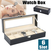 6 Slots Pu Leather Jewelry Watch Display Case Box Storage Holder Organizer