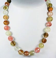 10mm Faceted Multi-Color Watermelon Tourmaline Gemstone Round Beads Necklace 18""