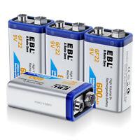 4PCS EBL 600mAh 9V 6F22 Rechargeable Batteries 9 Volt Li-ion Battery for MIC RC