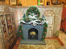 DOLLHOUSE MINIATURE CHRISTMAS TREE, WREATH & GARLAND (RED/GREEN/WHITE ) --OOAK