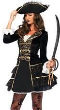 New High Sea Pirate Captain Women Costume Gold Trim Velvet Coat Dress Lace Hat S