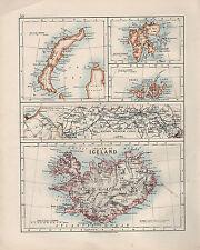 1909 Vittoriano mappa ~ Islanda ~ SPITZBERGEN Kaiser Wilhelm Canal CORINTH