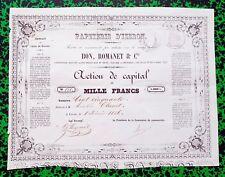Dépt 38 - Izeron - Très Rare Action de 1 000 F (200) Papeterie d'Izeron  de 1856