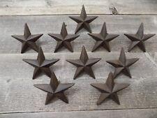 "10 Rustic Star Nails Craft Pins 3 1/2"" Cast Iron Decorative Wall Decor Texas"