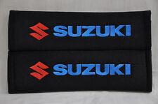 Suzuki Black Plush Embroidery Seat Belt Cover Shoulder Pad Cushion Pair