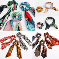 Boho Floral Leopard Scrunchies Rope Hair Scarf Streamers Bow Hair Band Ties 1X