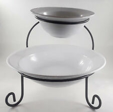 Chip Dip Bowl Set 2 Tier Serving Stand Food Server Display In Box