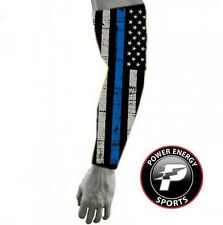 Police Lives Matters Cops Thin Blue Line FLAG Compression Dri-Fit Arm Sleeve