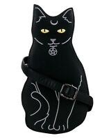 GOTHIC CAT BLACK SHOULDER HANDBAG Pagan Pentagram GOTHX Vegan Leather PU Bag