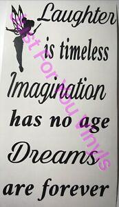 Laughter Is Timeless Dreams Forever Tinkerbell Inspired Wine Bottle Vinyl  Decal