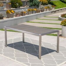 Cape Coral Outdoor Aluminum Dining Table with Faux Wood Top, Christopher Knight