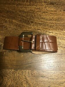 Vintage Brown Leather Cue Waist Belt, Size 28