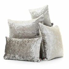 Luxury Crushed Velvet Silver Fabric Cover & Filling Cushions British Handmade