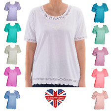 LADIES DESIGNER T-SHIRT TOP COTTON RICH QUALITY SUMMER EMBROIDERED SIZES 10-26