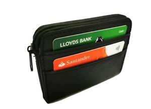 Unisex Credit Card Holder Wallet Zip Leather Card Case Compact Accordian ID Card