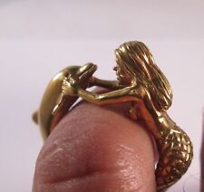 10 KT SOLID YELLOW GOLD  MERMAID AND  DOLPHIN RING SIZE 8.5