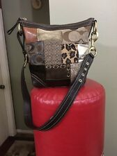 COACH 3573 Patchwork Brown Multicolor Leather Crossbody Messenger Bag Medium