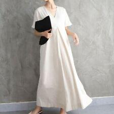 Women Maxi Dress Cotton Linen V-neck Robe Short Sleeve Loose Casual Long Dresses