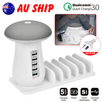 Universal Charging Station Multi Port USB Mushroom Lamp Fast Quick Charger Dock
