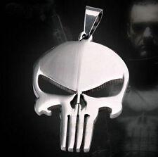 Men's Metal Punisher Movie Skull Super Hero Pendant Silver Chain Necklace WUS5