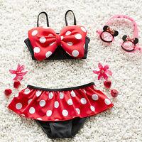 US STOCK Summer Baby Girl Kids Bathing Suit Swimwear Bikini Set Tankini Swimsuit