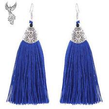Tibetan Silver Royal Blue Polyester Tassel Earrings 11cm     #761