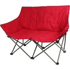 Love Seat Camping Chair Red 2 Person Couple Padded Folding Portable Polyester