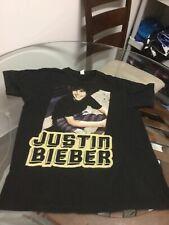 2009 Justin Bieber Black Concert Tour T-Shirt Medium Good Condition