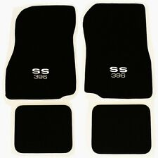NEW! 1968-1972 Chevelle Floor Mats Black Carpet Embroidered SS 396 Logo Silver 4
