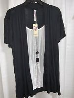 Black And White Blouse & Necklace, Size L, New With Tags