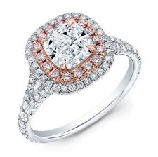 1.80 Ct Cushion Cut Dual Halo w/ Pink Diamond Engagement Ring H,VVS1 GIA 14K WG