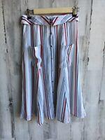 NWOT$130 Tularosa Oliver Midi Skirt Red White Blue USA Foldover Waist XS