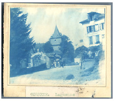 France, Corrèze, Laguenne  vintage print cyanotype  8x10  Circa 1880