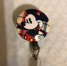 Mickey Mouse  - Tan Fabric Retractable ID Name Badge Holder Reel clip on