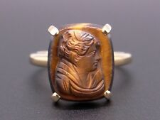 14k Yellow Gold Carved Stone Tiger Eye Cameo Madien RingSize 4.5