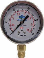 NEW PRM 0-50 PSI PRESSURE GAUGE 2.5 INCH SS CASE 1/4 INCH NPT BRASS BOTTOM NIB
