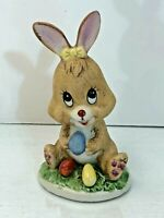 Vintage Hand Painted Russ Berrie Easter Bunny & Eggs in Grass Figurine #1050