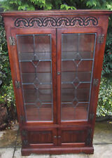SUPERB OLD CHARM 2 DOOR GLAZED BOOKCASE/CABINET VERY CLEAN  2 MAN DELIVERY