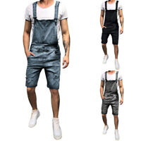 Men's Denim Loose Overalls Jumpsuits Dungarees Pants Slim Skinny Work Trouser LO