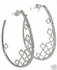 Solid 925 Sterling Silver Clover Oval Hoop CZ Earrings '