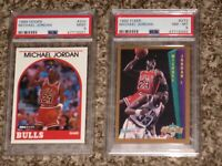 Michael Jordan 1989 NBA Hoops + 1992 Fleer PSA 8 9 MINT BULLS Bundle HOF Lot