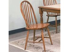 Set of 4 Arrow Back Windsor Soild Wooden Seat Dark Oak Dining Side Chairs