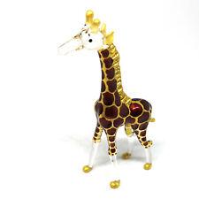 Glass Figurine Standing Giraffe Craft Miniature Hand Blown Dark Brown