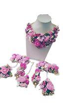 Artificial Flower Jewelry Pink Gota Patti Floral Bridal Wedding Jewelry Set 7Pcs