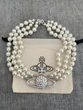 vivienne westwood Three Strands Pearl Chocker necklace Silver