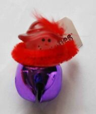Red Hat Lady Jingle Bell Tack Pin / Purple Jingle Bell w Red Hat Lady Design